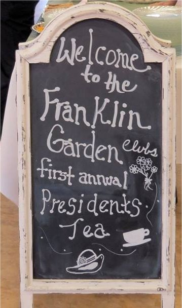 Sign for Tea Party for Franklin Garden Club