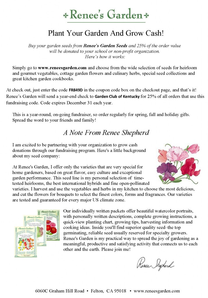 Promo Flyer Garden Club of Kentucky