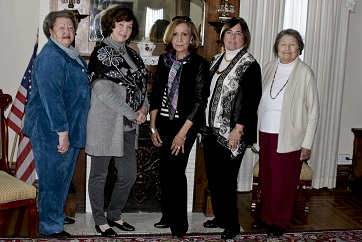 Past Presidents of the Bowling Green Garden Club (L toR): Romanza Johns, Sandy Riley, Connie Pittman (current President), Alice Kummer, & Elaine Murphy