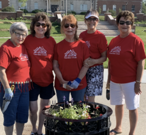 Boone County Garden Club members with large flower pot